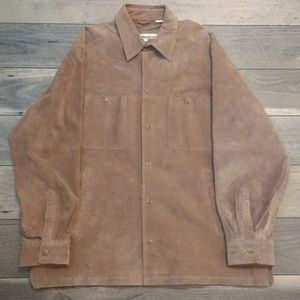 Perry Ellis brown  button up 100% leather coat